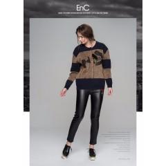 ENC秋冬女装字母印花羽毛拉链圆领拼接休闲长袖开衫女
