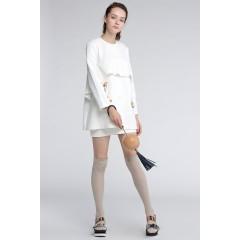 d'zzit地素 时尚印花前襟褶皱圆领长袖连衣裙